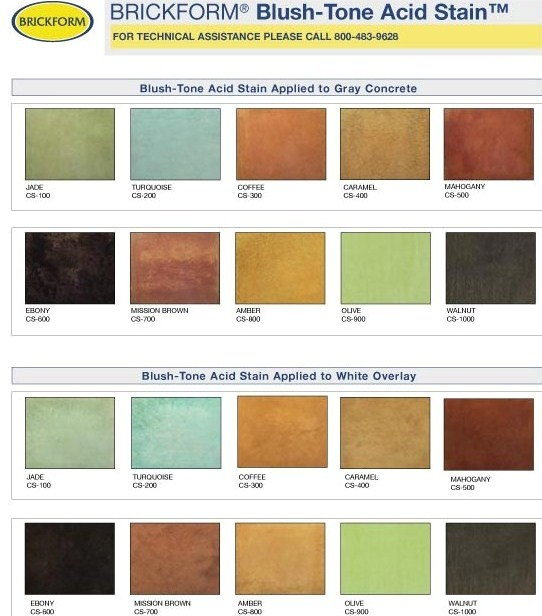 Acid Stain Concrete Curb Canada Inc Acid Stain Colors