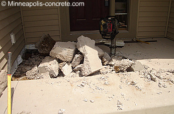 sunken concrete porch tearout