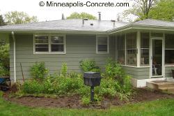Backyard before concrete patio installation