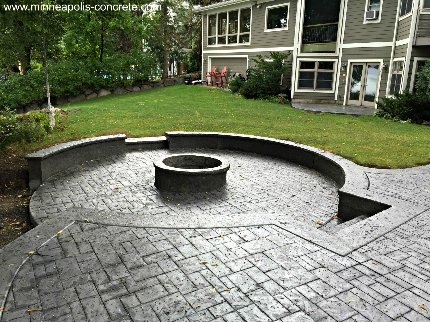 Stamped Concrete Patio with Raised Firepit